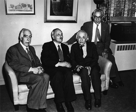 "Figure 1.1: Seven decades ago, scientists began warning of the dangers of fissile materials and their use in nuclear weapons. From left: Niels Bohr in 1944 cautioned that fissile materials could become a ""perpetual menace"" to humankind;a James Franck in 1945 led a group of Manhattan Project scientists in arguing that ""the development of nuclear power is fraught with infinitely greater dangers than were all the inventions of the past""; Albert Einstein in 1955 joined philosopher Bertrand Russell and others to issue the Russell-Einstein manifesto calling for the abolition of nuclear weapons and launching the Pugwash movement of scientists for nuclear disarmament; Isidor Rabi in 1949 advised the United States government not to pursue thermonuclear weapons since ""The fact that no limits exist to the destructiveness of this weapon makes its very existence and the knowledge of its construction a danger to humanity as a whole."" Photo: Princeton, NJ, October 3, 1954."